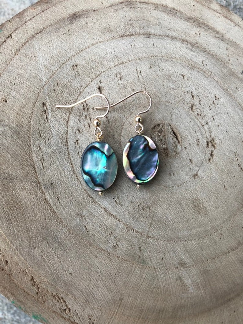 R A D I A N T  Colorful Paua Shell & Gold Filled Earrings image 0