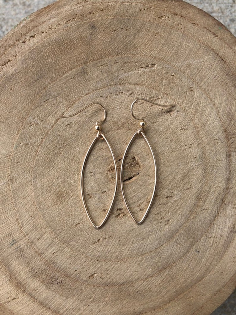 G R A C E  Gold filled Marquis Dangles  Gold Geometric image 0