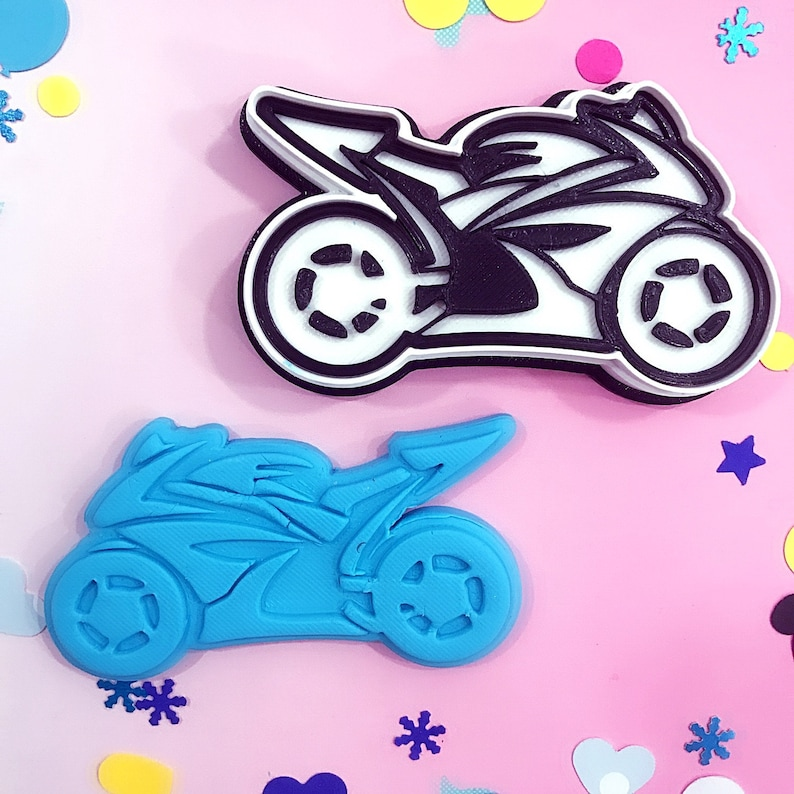 Cookie cutter and stamp track motorbike