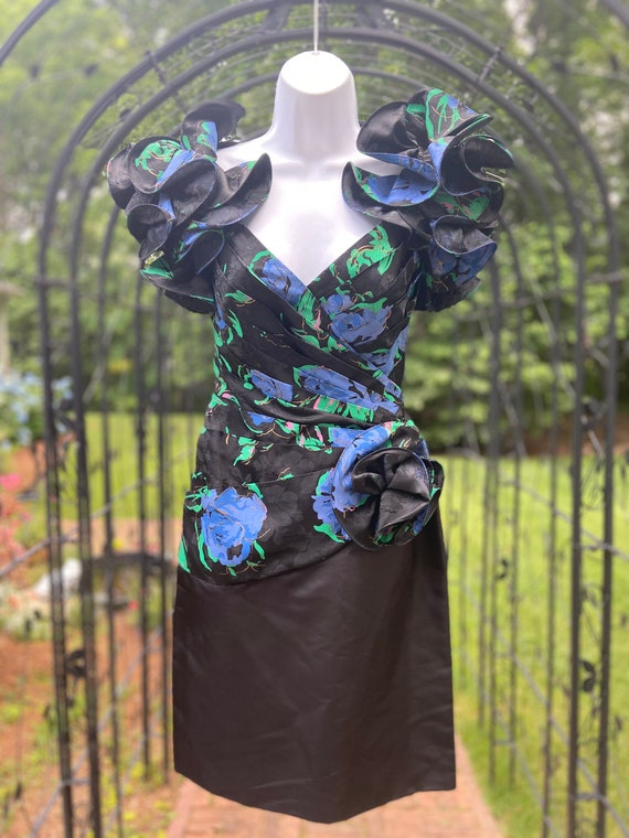 80's Tadashi Floral Cocktail Dress