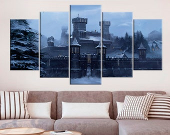 Winterfell Castle Print Game Of Thrones Poster Canvas Wall Art Tv Show Framed Westeros Decor