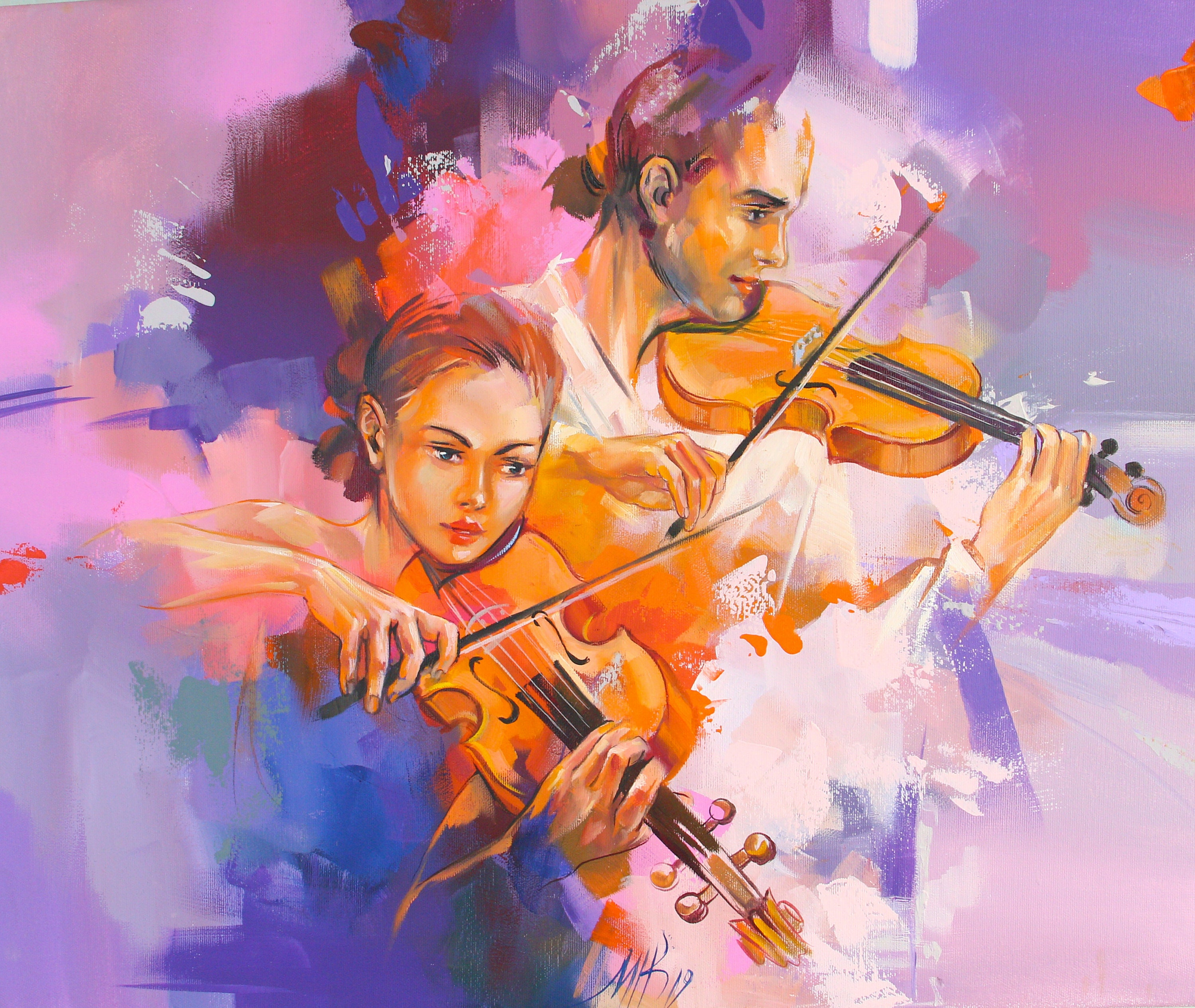 Painting Numbers Kits Violinist DIY Number Canvas Hand Paint Painted Oil Violin