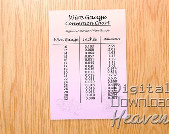 Gauge chart etsy downloadable wire gauge chart printable wire gauge jpeg digital download jewelry making information what gauge wire to use greentooth