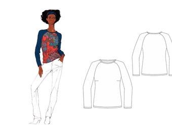 Schnittmuster Shirt, Schnittmuster Berlin, Schnittmuster Damenshirt, Schnittmuster Gr. 34-50, Papierschnitt, Nähanleitung