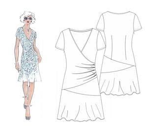 Schnittmuster Kleid, Schnittmuster Berlin, Schnittmuster Gr. 34-50, Papierschnitt, Nähanleitung