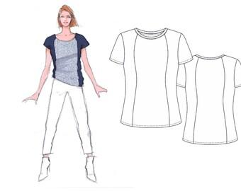 Schnittmuster Shirt, Schnittmuster Berlin, Schnittmuster Gr. 34-50, Papierschnitt, Nähanleitung