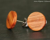 10 mm Wood Clock Plug in Oak with Stainless Steel or 925 Silver Connector, Stud earrings wood earrings thin round wooden Thin wood Earrings