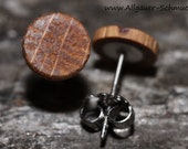 Small 8 mm wooden clog plug with 925 silver or stainless steel plug round wooden stud earrings wood jewelry wood earrings for men and women
