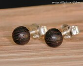 6 mm 925 silver stud earrings from the turn, wooden plug, earrings, feather-light earrings round small wooden stud earrings natural jewelry