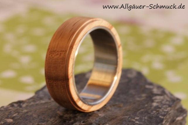 Eichenholz Ring Ring aus Holz EdelstahlringRing Eiche   Etsy