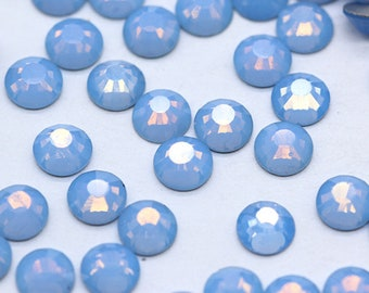 Flat Back Rhinestone Blue Opal Crystal Bling Embellishments 2mm 3mm 4mm 5mm Glass Rhinestone Crystal Beads