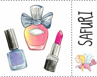 Ironing motif set nail polish, perfume, lipstick