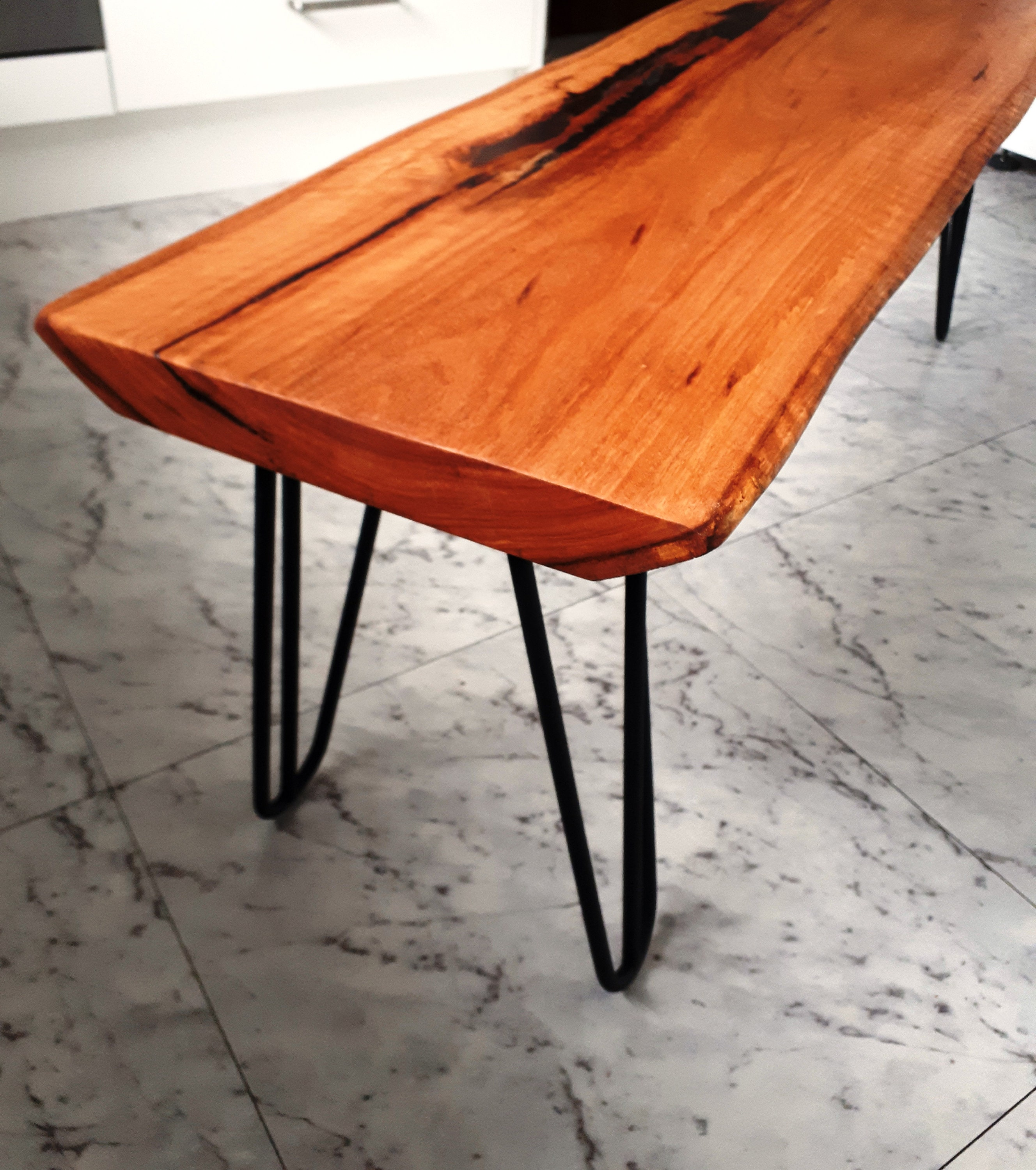 Coffee table, spotted gum slab
