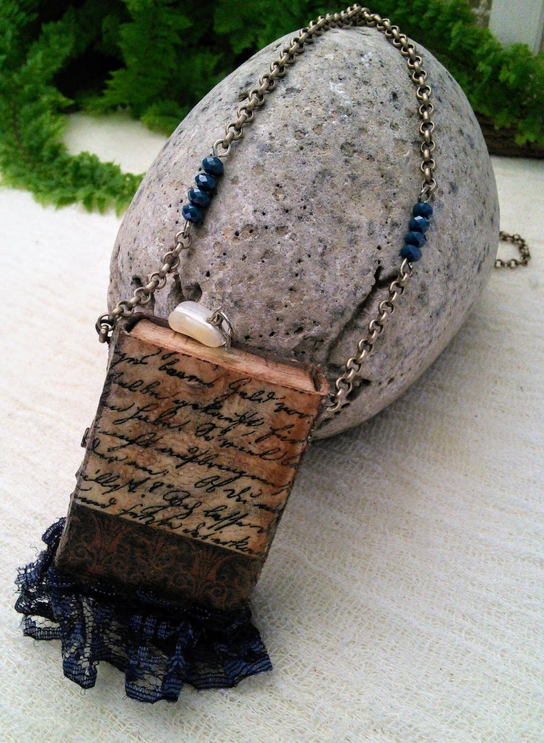 Matchbox Music Mixed Media Necklace Rice Paper Indian Bindi Blue Lace Metal Chain Turquoise Glass Beads Deco Stones Vintage Romantic Boho