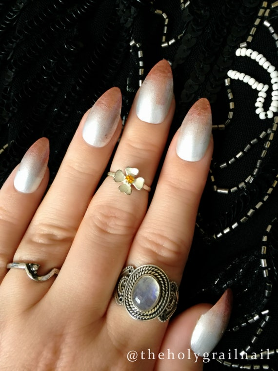 Give It A Pearl L Pearl Ombre Nails L Acrylic L Gel L Press On Etsy