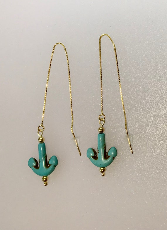 Aqua Blue Turquoise ite Gemstone Gold-Plated Threader Gold Earrings