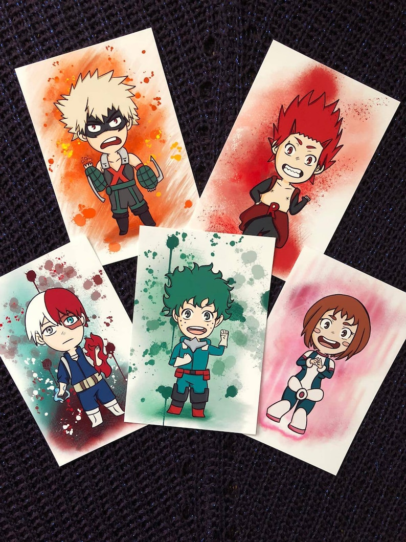 Mha Chibi A6 Art Prints Bnha My Hero Academia Plus Ultra Cute Kawaii Heroes Deku Uraraka Kirishima Bakugou Todoroki Digital Art