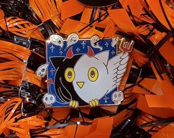 Owl Enamel Pin, Spooky Cute Owl Enamel Pin, Halloween, Devil Owl, owl, devil, cosplay, enamel pin, pin