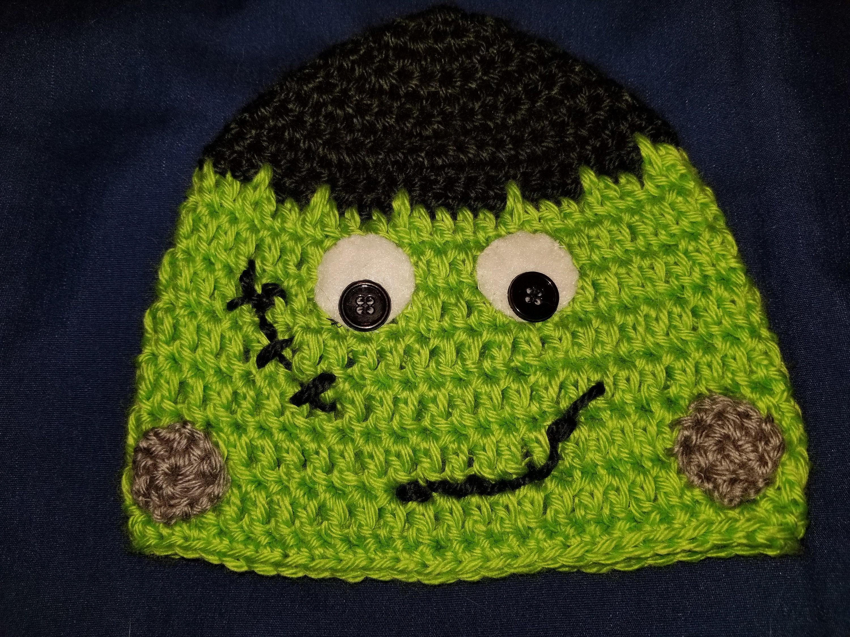 Frankenstein Baby Hat Character Crochet Halloween Baby  462637da0ab