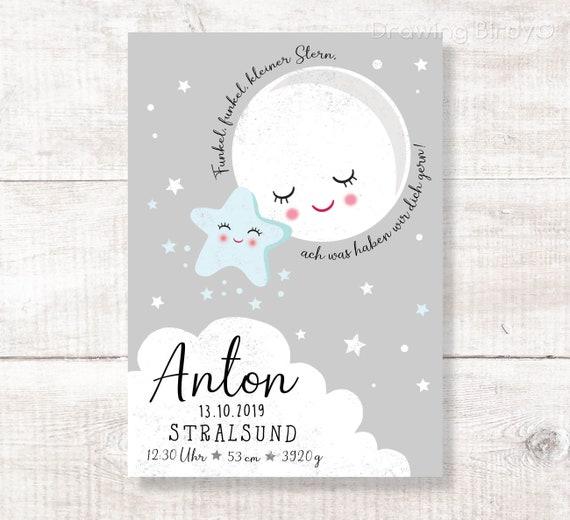 Kleiner Stern Geburtsanzeige Geschenk Zur Geburt Taufe Personalisiert
