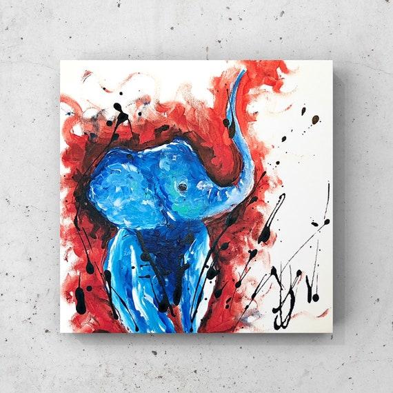Abstract Elephant Acrylic Painting On Canvas Elephant Wall Art Elephant Decor Abstract Wall Art Elephant Gift Birthday Gift Ideas