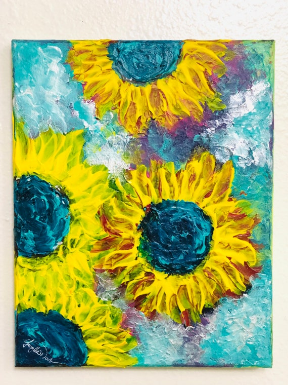 Abstract Sunflowers Finger Painting On Small Canvas Original Painting Acrylic Painting Bathroom Wall Art Kitchen Wall Art Gift Ideas