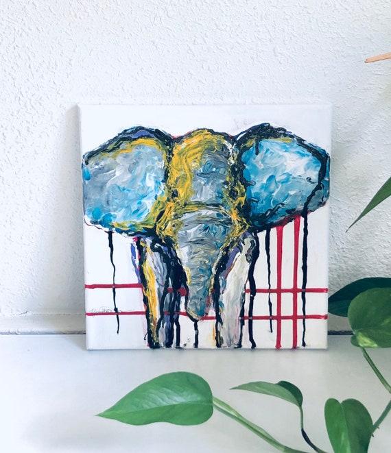 Abstract Elephant Wall Art On Canvas Original Painting Elephant Painting Elephant Art Elephant Decor Animal Painting Birthday Gift