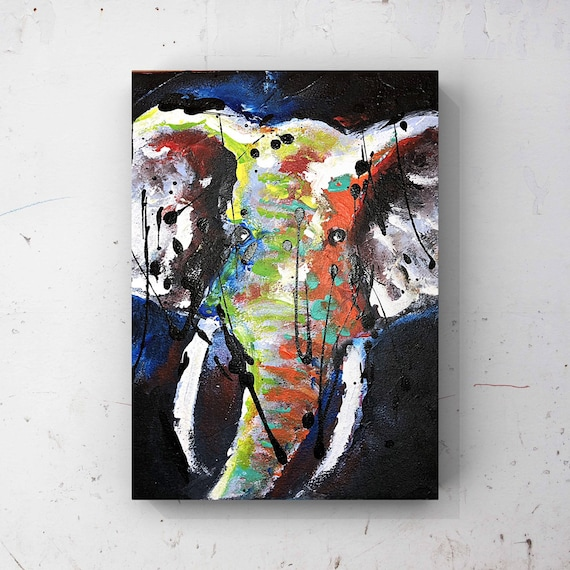 Abstract Elephant Acrylic Finger Painting On Canvas Elephant Wall Art Elephant Decor Elephant Gift Elephant Art Bedroom Wall Art Gift