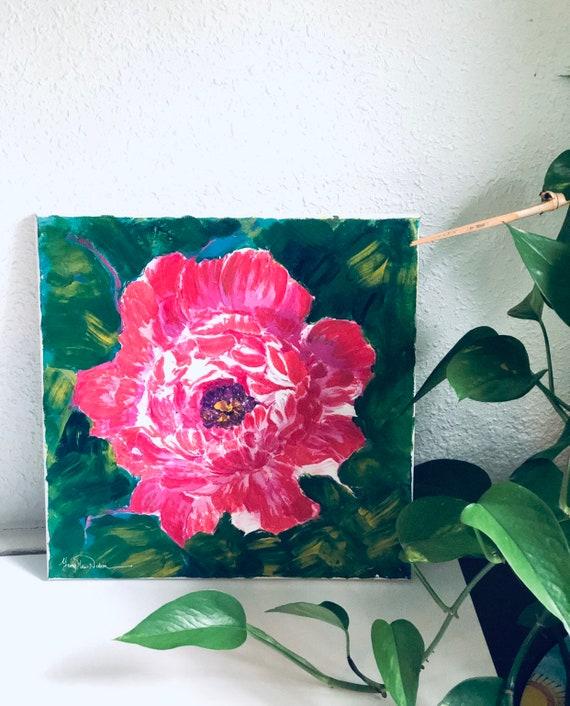 Textured flower acrylic finger painting on canvas  peony wall art, flower  wall art, impasto art, home decor, office decor, birthday gift