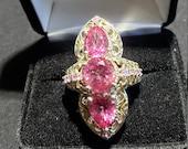 Designer size 7 Pink Rhodolite Garnet Ring vintage