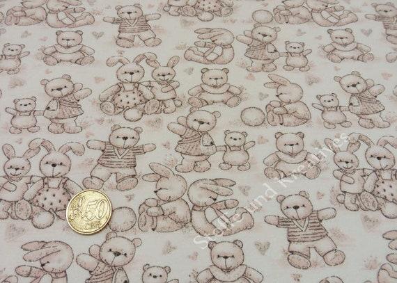 Cuddly toys ecru hellbraun Sweatshirtstoff Hilco Kinderstoff Babystoff 25 cm