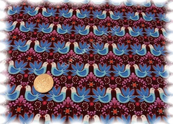 20 78 Euros Metre Oiseau Craft Tissu Sweatshirt Birdie Brown Hilco