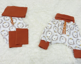 DIY Sewing Package Pump Pants Fabric Cuts Baby Size 50-56, Size 62-68 or 74-80 Jersey Safari ecru plus Cuff Rust Sewing Set Gift Baby
