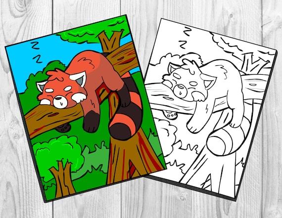 red panda coloring page printable digital download for kids etsy red panda coloring page printable digital download for kids and adults