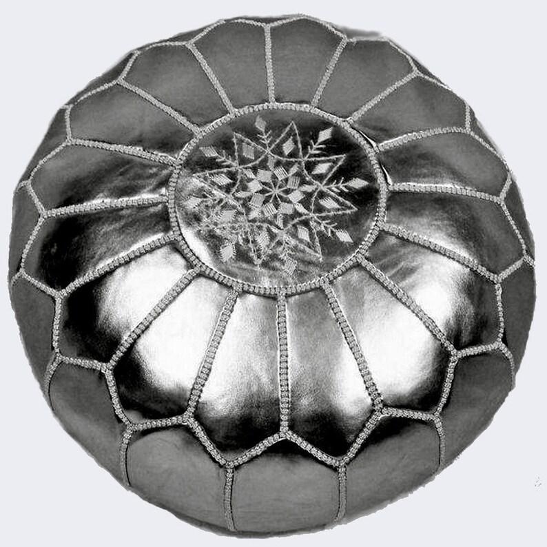 Bohemian poufs. Silver Round Footstool Pouf Pouf Ottoman
