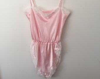 Vintage 80s Teddy Satin Lace Frilly Halter Top Romper Lily Of France Size Large Clothing, Shoes & Accessories