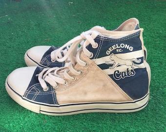 d25be8cbf2a0 Vintage Auscore 90s AFL Geelong Cats Vintage High Tops Size 6
