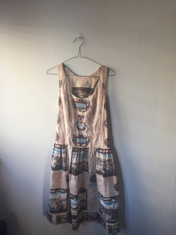 Beige Nautical Themed Skater Dress with Vintage Ma