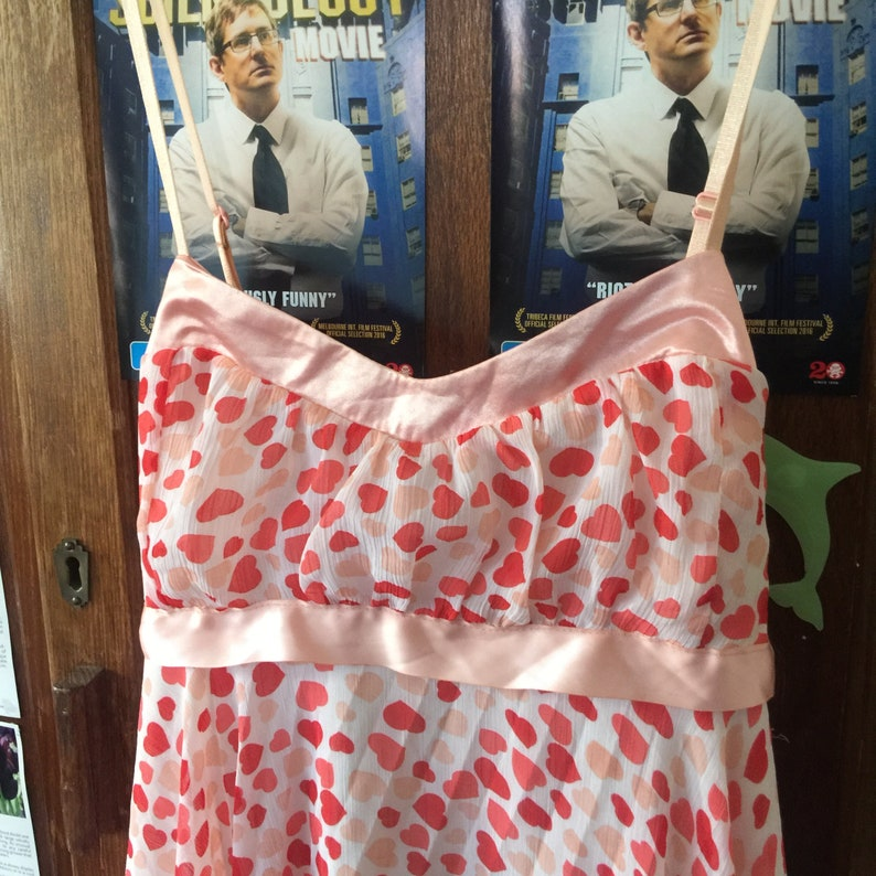 Stupid Cupid Saint Valentine/'s 1960s Babydoll Pink and Red Hearts Dress with Pale Pink Satin Accents and Tie Up Bow