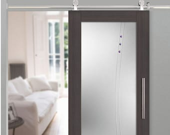 wood vaneer glass barn door with frosted and clear lines design rhinestones - Glass Barn Doors