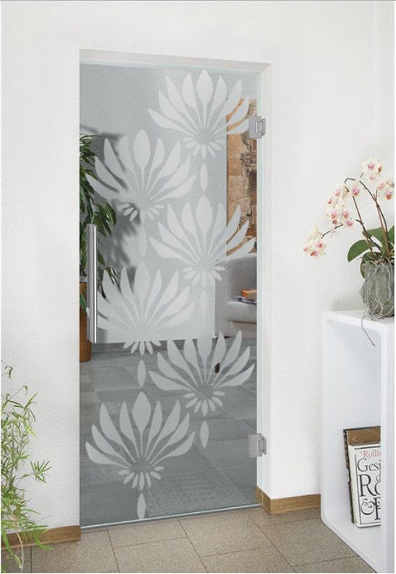 Swinging Glass Door With Flower Design Etsy