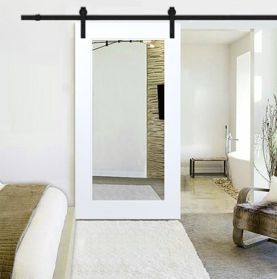 Mirror Sliding Barn Door White Primed With Carbon Steel Etsy