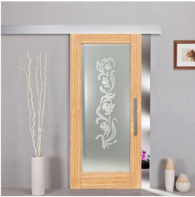 Sliding Wood Veneer Glass Door Frosted With Flower Design Etsy