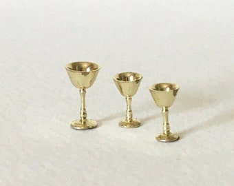 J055 Dollhouse Miniature Silver Tone Goblet Chalice w// Blue Jewels
