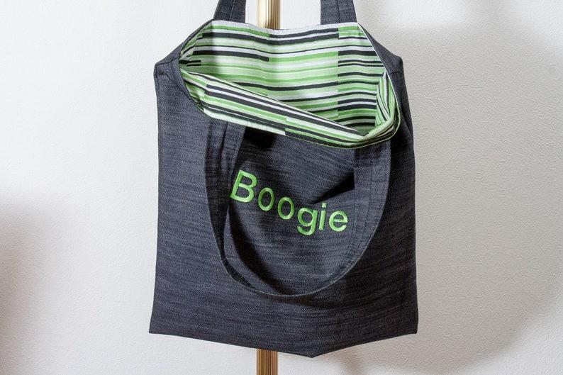 Tasche Boogie bestickt grün Stofftasche Jeanstasche Shopper image 0