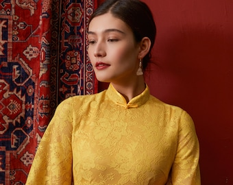 0961a9e92a60 Yellow flower Lace Cheognsam Dress