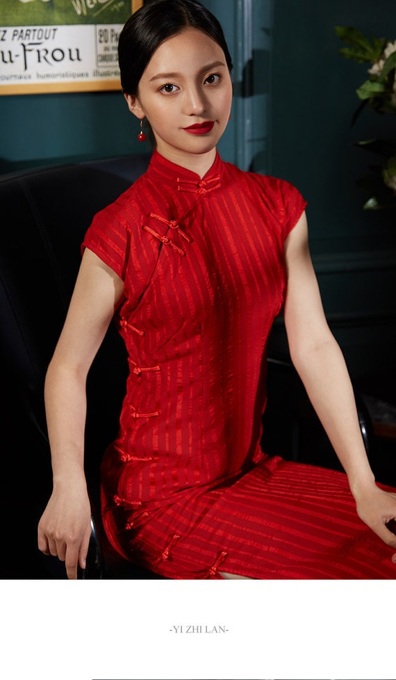 349f7768965 Red wedding Cheongsam Red Party dress Red evening dress