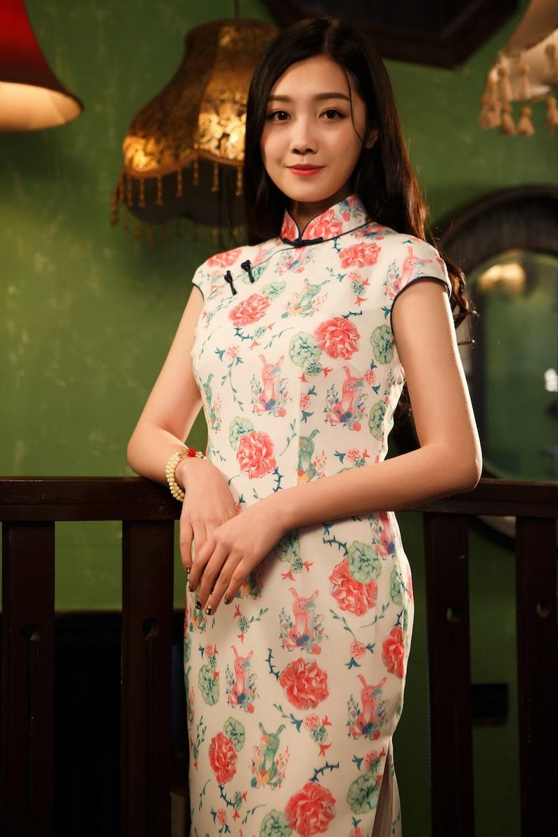 c36588ee8 White Cheongsam Dress Chinese dress Mid Length Dress | Etsy