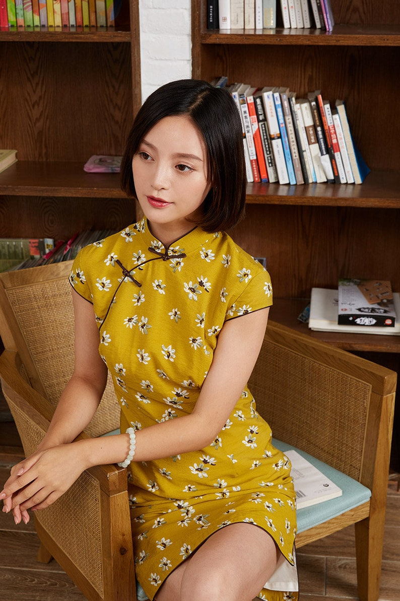 733894855 Yellow Short Floral Cheongsam dress Qipao dress Custom made   Etsy