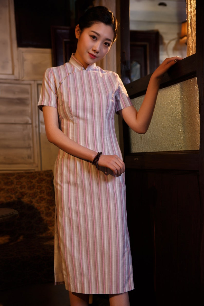7cf866225d065 Pink Strip Cheongsam Dress Cotton Qipao Dress Vintage
